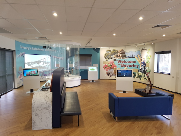 Interactive kiosk exhibits and wall projection at the Cornerstone building in Beverley.