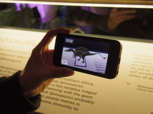 Viewing an animated dinosaur at the Dinosaur Discovery exhibition